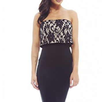 Black Tube Bonded Lace Overlay Bodycon Dress