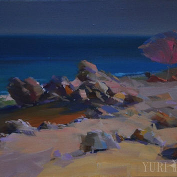 Original Oil Seascape Painting - Summer Abstract Seascape Art on Canvas by Yuri Pysar