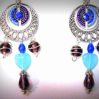 Crystal Earrings Valentine's Day,  Blues & Purple/ Glass hearts, inlaid beads