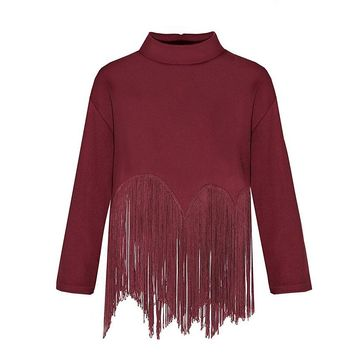 CREE Fringe High Collar Top