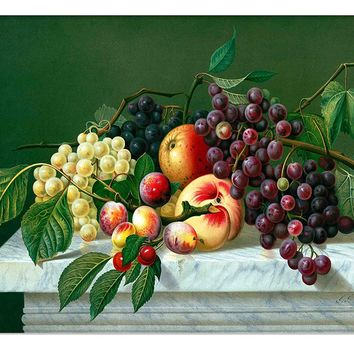 Fruits Picture on Canvas Hung on Copper Rod, Ready to Hang, Wall Art Décor