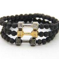 Black Lava Stone Beads with Mix Color Alloy Metal Fitness Fashion Dumbbell Bracelets