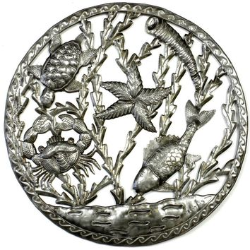 Sealife in Ring Metal Wall Art - Croix des Bouquets