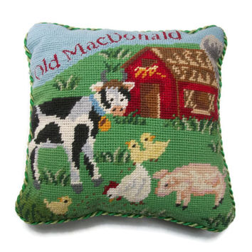 "Vintage Farm Scene Needlepoint Pillow Old MacDonald Nursery Decor 10"" x 10"" Cushion - Cow Barn Pig Chickens Green Fabric Back - Childs Room"