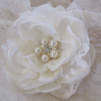 Ivory Satin and Lace Bridal Wedding Flower Hair Clip Bride, Mother of the Bride, Bridesmaids  with Pearl and Rhinestone Accent