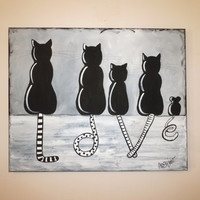 Sitting Cat painting black white LOVE whimsical cats mouse wall art 16 x 20 canvas