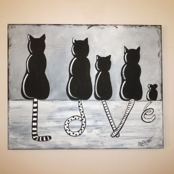 Sitting Cat Painting Black White LOVE Whimsical Cats Mouse Wall
