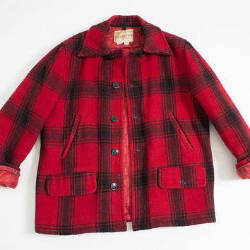 "Vintage 1950s Coat - Men's Plaid Red Wool Jacket 50s  40"" Medium"