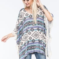 Full Tilt Native Crochet Womens Poncho Multi  In Sizes