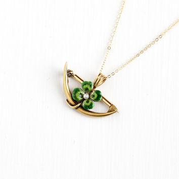Antique 14k Gold Crescent Moon Four Leaf Clover Pendant Necklace - Early 1900s Art Nouveau Green Enamel Fine Shamrock Brooch Pearl Jewelry
