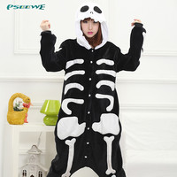 pajamas woman Flannel skeleton Skull Pajamas All in One Pyjama Animal Men women Winter Garment Cartoon Onesuits Pajamas