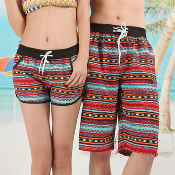 Couples Swimwear Beach Shorts Unisex Geometric Print Couples Beachwear Swimwear