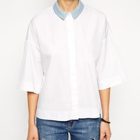 ASOS Kimono Sleeve White Shirt With Contrast PU Collar at asos.com