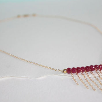 OOAK Faceted AA Ruby and Gold Plated Pyrite 14K Gold Fill Bar Necklace Kaya Jewelry