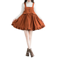 Woman Fashion Vintage Loose Rural Loose Solid Mini Short Corduroy Dress Overall Vest Suspender Dress