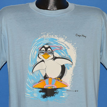 80s Cape May New Jersey Penguin Surfing Iron On t-shirt Large