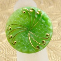 Czech Glass Button Ring Lime Green and Gold Scroll