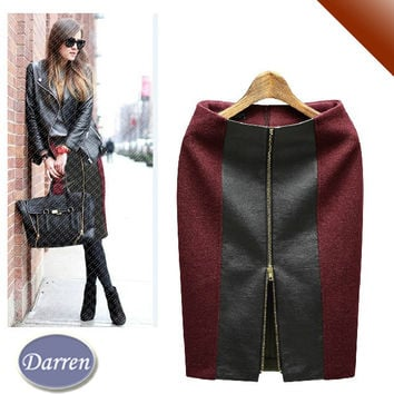 Autumn and Winter High Waist Women's Fashion Plus Size Zipper Leather Skirt Black & Wine Red Color Saias Femininas Pencil Skirts