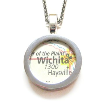 Wichita Kansas Map Pendant Necklace