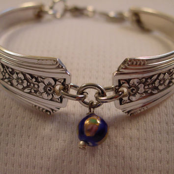 Beautiful Spoon Bracelet Fortune Pattern With Cloisonne Bead Vintage Spoon and Fork Jewelry b22