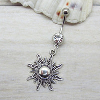 Antique silver sun belly button ring ,sun charm, navel piercing, sun belly button ring jewelry,unique gift