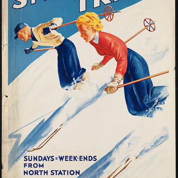 "c.1930s ""Boston and Maine Snow Train Skiing"" Travel Poster-Antique-Old-Vintage Reproduction Photograph/Photo: Gicclee Print. Frame it!"