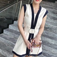 """Gucci"" Women Temperament Fashion Multicolor Sleeveless Vest Mini Dress"