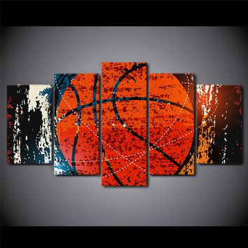 5 Piece Canvas Art Abstract Red Basketball Wall Picture Gym Poster