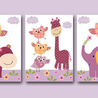 "Art for Children,Kids Wall Art,Baby Girl Room Decor,Nursery print,set of 3 11"" x 14"" Print,elephant,giraffe,owl,violet,hippopotamus"