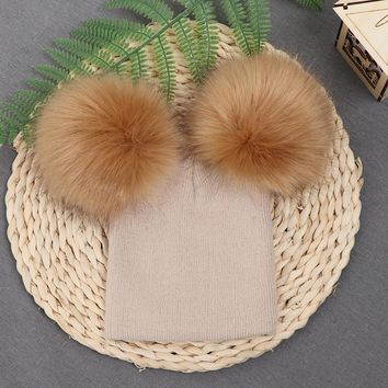 1PC Fashion Children's Fur Ball Cap Winter Warm Hat for Girls Boys Baby Casual Caps Ball Knitted Wool Gifts New
