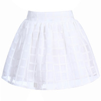 ROMWE Waisted Puff Lattice Sheer White Skirt