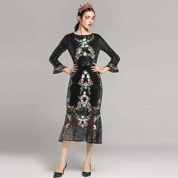 Womens Gauze Embroidery Sequins Flare Sleeve Fishtail Dress
