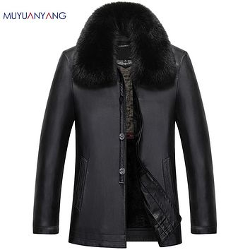 Winter Black Leather Jacket for Men Leather Coats Thick Rabbit Fur Collar Overcoats Leather Suede Clothing