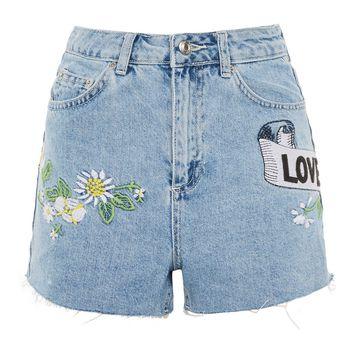 'Love Me Not' Embroidered Mom Shorts - Statement Denim - Jeans