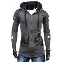 Men Stylish Slim Patchwork Long Sleeve Hoodies [10669394563]