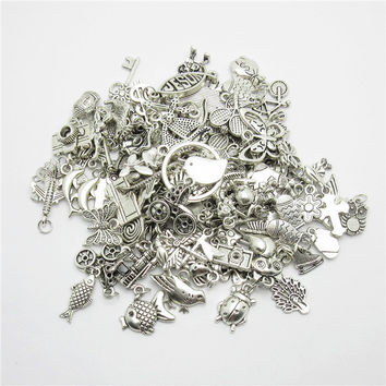 100g (50~80pcs) Random Mix Tibetan Silver Charms Dangle Metal Alloy Charm fits Pendants for jewelry making