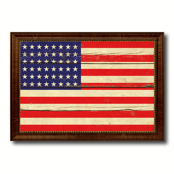 48stars Military Flag Vintage Canvas Print with Brown Picture Frame Gifts Ideas Home Decor Wall Art Decoration