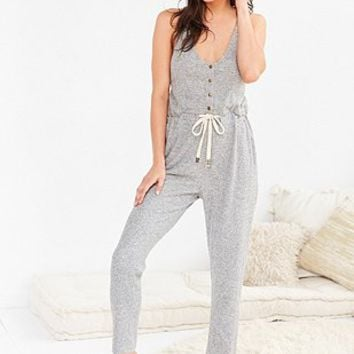 Out From Under Cosy Grey Henley Jumpsuit - Urban Outfitters