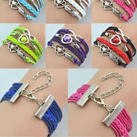 New Infinity Love Heart Pearl Friendship Antique Silver Leather Charm Bracelet Jewelry Gift = 1705914500