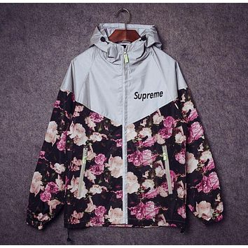 Supreme Fashion Print Zipper Long Sleeve Cardigan Jacket Coat Windbreaker