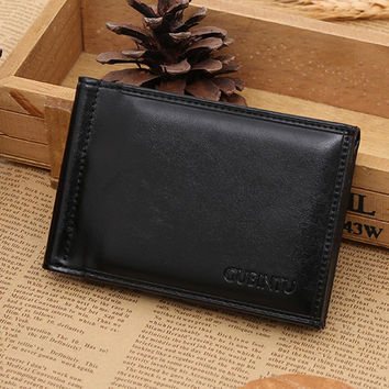 Leather men's Wallets purse leather walletsCard Cash Receipt Holder Organizer Bifold Best gift CF
