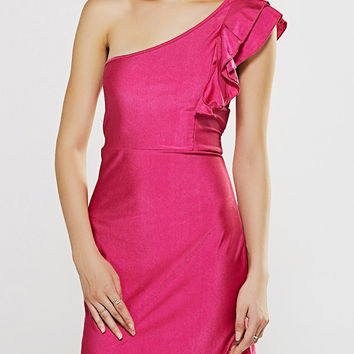 Peach Red Flounce Curved Hem One Shoulder Dress