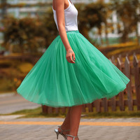 Tulle Skirt Tea length Tutu Skirt Knee length tulle tutu Princess Skirt Wedding Skirt in Mint Green - NC455