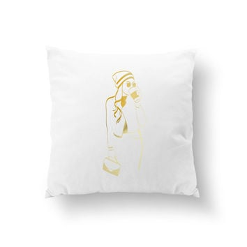Hat & Coffee Pillow, Cushion Cover, Fashion Chic, Stylish Woman Pillow, Decorative Pillow, Throw Pillow, Fashion Illustration,Fashion Pillow
