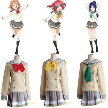 ESBON LoveLive School Uniforms Love Live Sunshine! Aqours Takami Chika School Uniform Love Live Lolita Gilr Dress Cosplay Costume