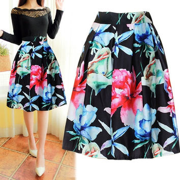 New Fashion Lady Women's High waist Print A-Line Pleated Midi Swing Skirt A_L = 1655752900