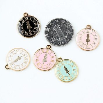 20MM 10pcs Alice in Wonderland clock Pendant  For Necklace Dangle Charm For Bracelet charm jewelry findings
