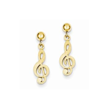 14k Yellow or White Gold Polished & Diamond-Cut Treble Clef Dangle Post Earrings