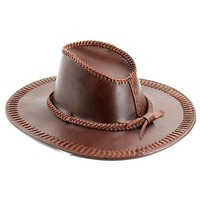 Cowhide Leather Stiched Long Hat