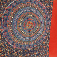 Twin Size Mandala Art Bohemian Tapestry, Psychedelic Indian Tapestry Bedding, Hippie Wall Hanging, Blue Color Theme, Picnic Blanket